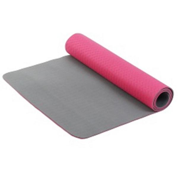 Коврик для фитнеса и йоги Larsen TPE розовый/серый 5 мм 173 см