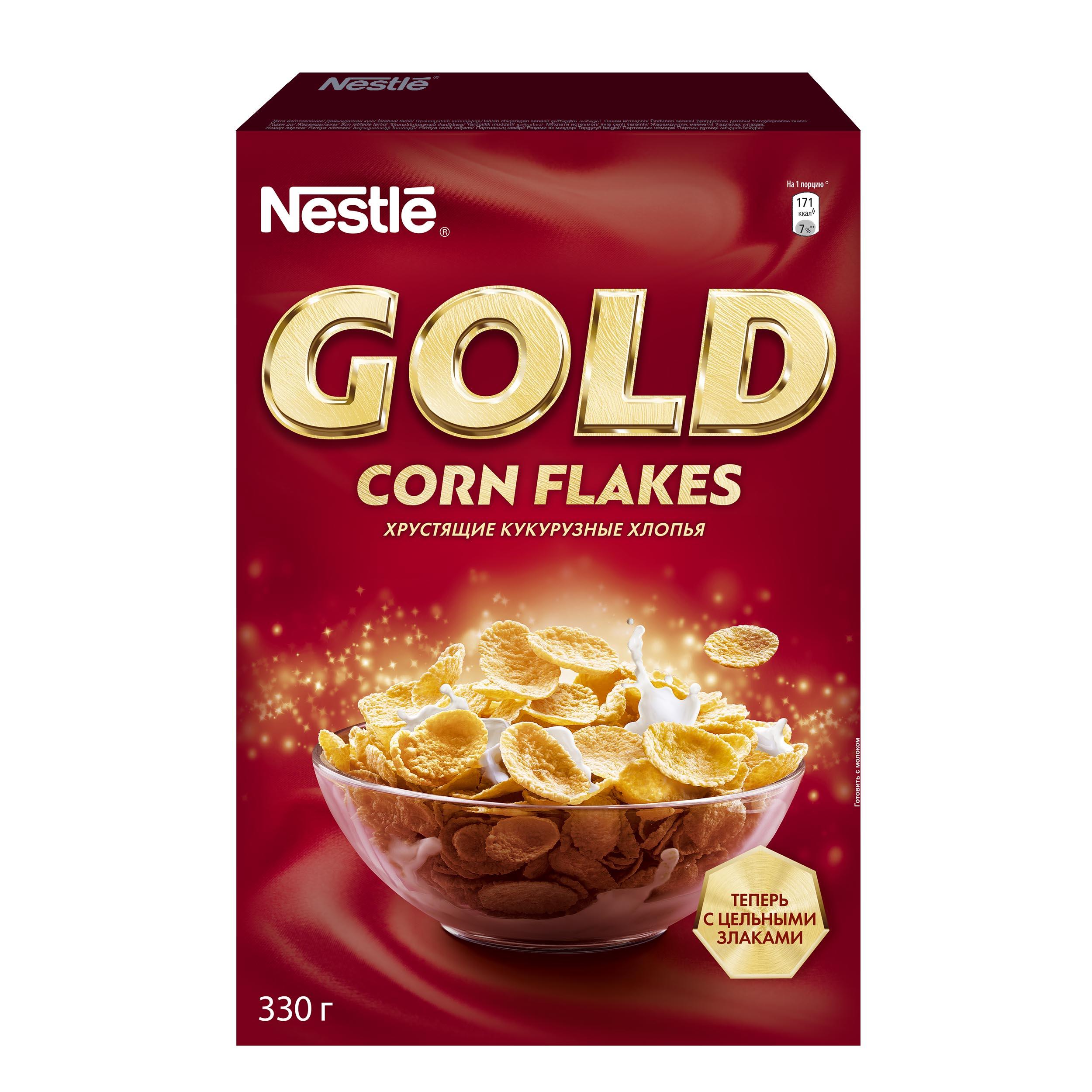 Готовые завтраки Nestle gold голд кукурузные хлопья 330 г