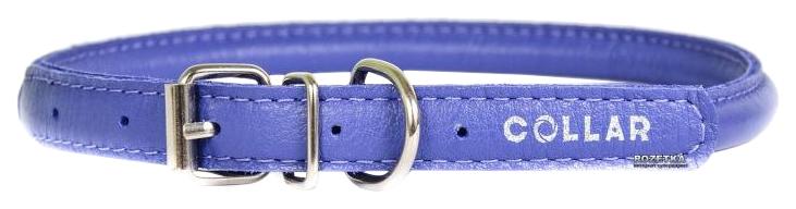 Ошейник для собак Collar Glamour, кожаный, круглый, фиолетовый, 45-53 см x 13 мм