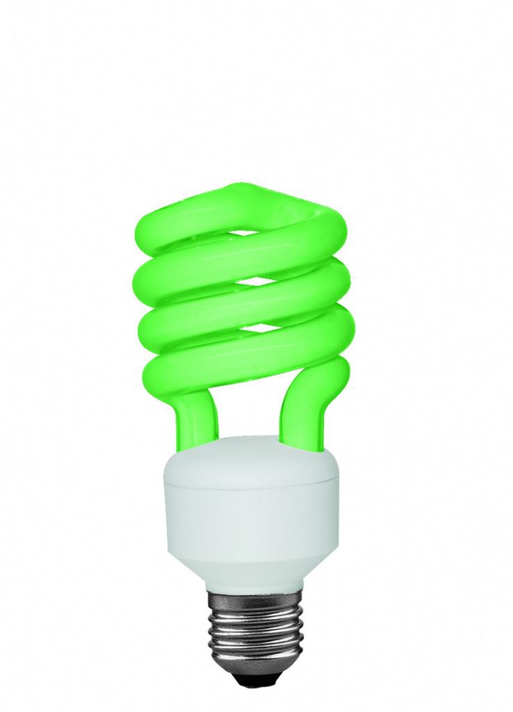 Лампа энергосберегающая Спираль, 15Вт, зеленая Е27 88043