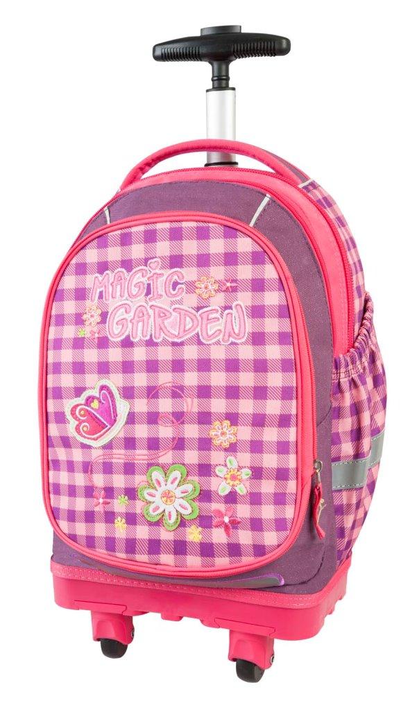 Рюкзак-тележка Волшебный сад фиолетовый с розовым 17931