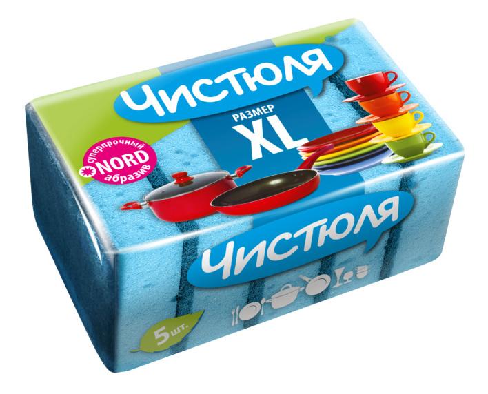 Губка для посуды ЧИСТЮЛЯ XL 5 шт