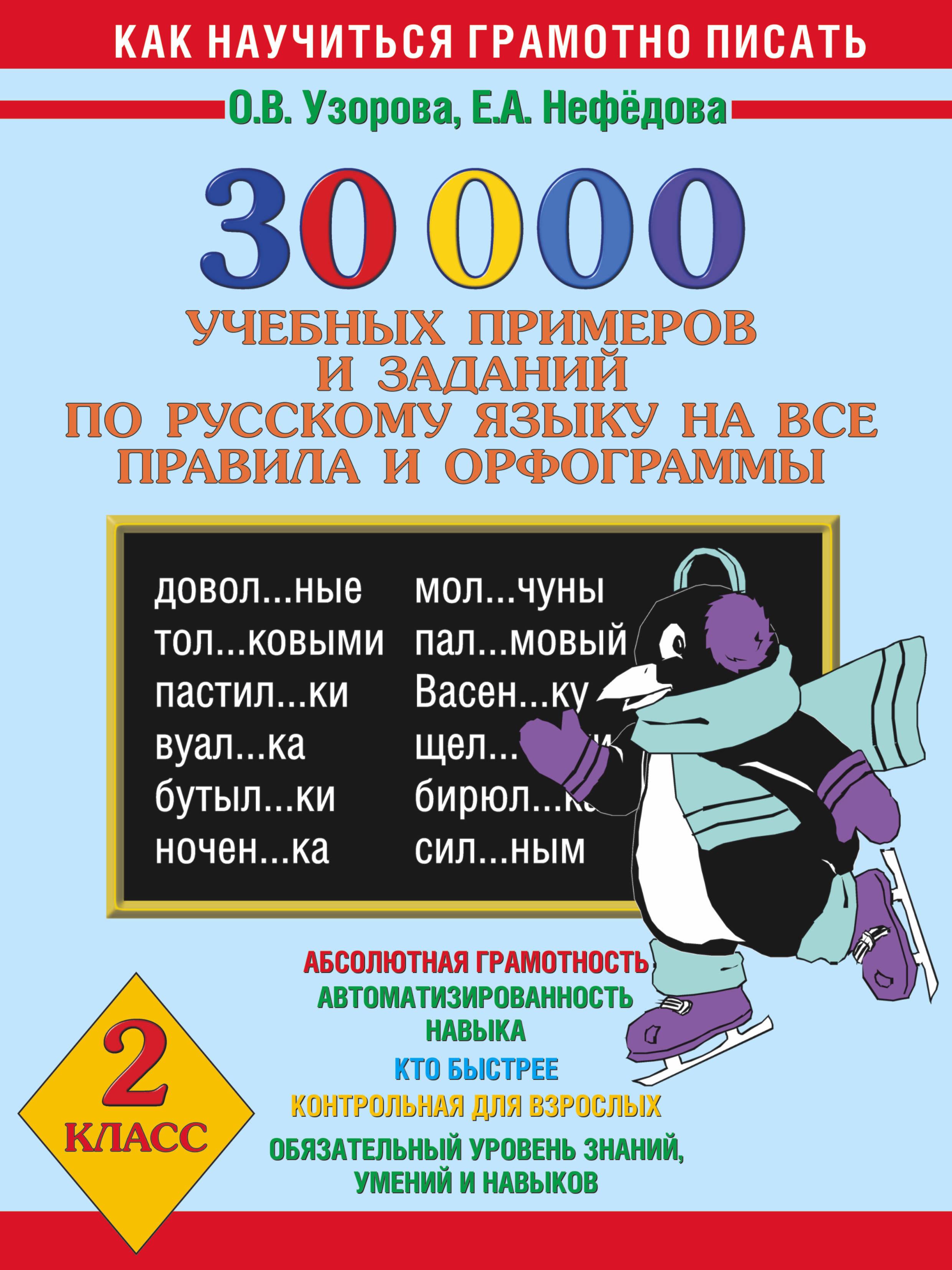 Учебных примеров и Заданий по Русскому Языку на все правила и Орфограммы, 2 класс
