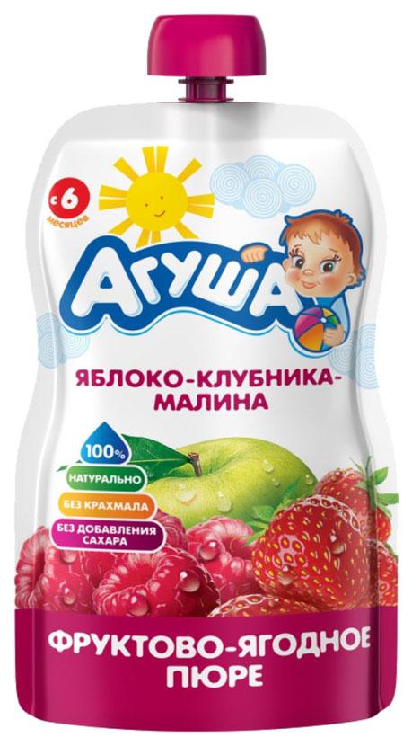 Купить Яблоко, клубника, малина 90 г, Пюре фруктовое Агуша Яблоко, малина с 6 мес 90 г, Детское пюре
