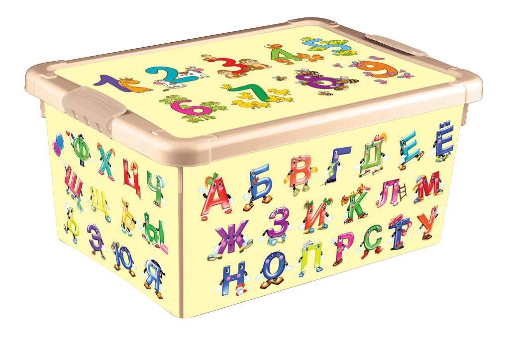 Ящик для хранения игрушек Пластишка Универсальный с аппликацией алфавит