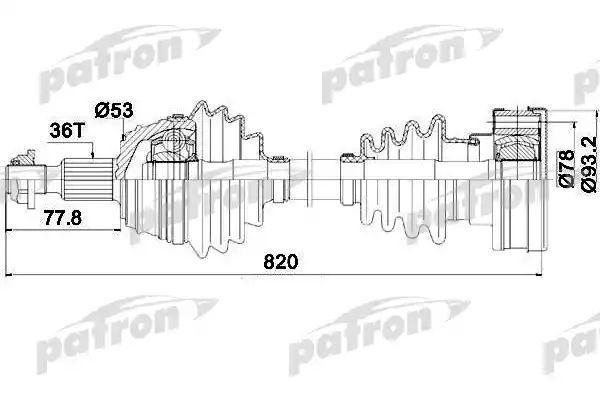 Приводной вал PATRON PDS0083