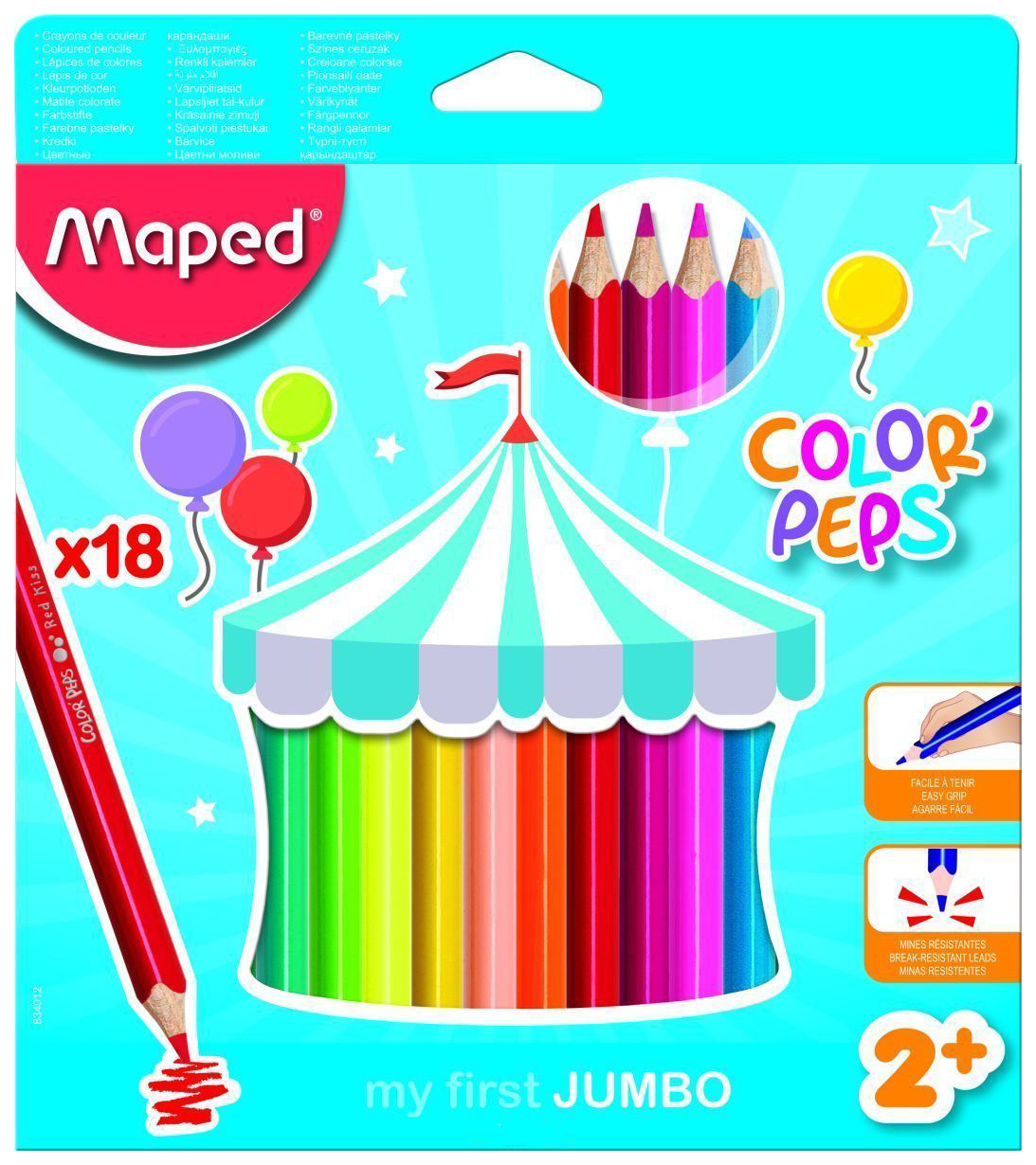 Купить Color Peps Jumbo 18 цветов, Карандаши цветные Maped Color Peps Jumbo трехгранные 18 цветов в футляре