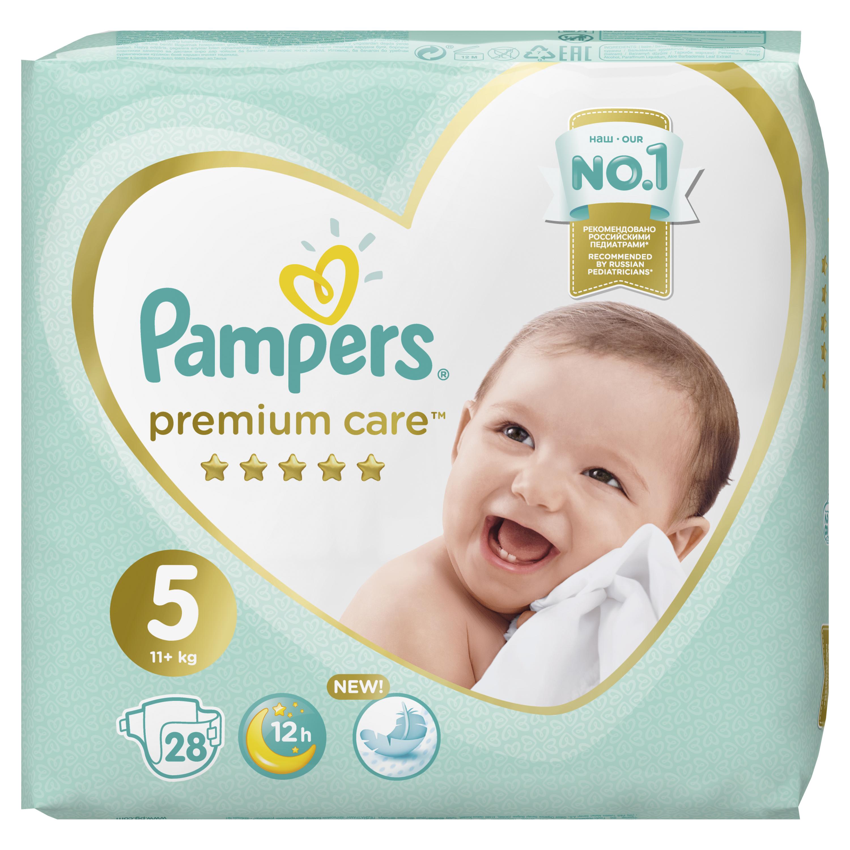 Купить Подгузники Pampers Premium Care Размер 5, 11-16кг, 28 штук, Подгузники Pampers Premium Care Junior (11+ кг) Экономичная 28 шт.