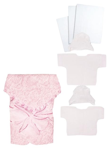 Купить Комплект на выписку для новорожденных Крошкин дом с бантом розовый, Комплекты для новорожденных