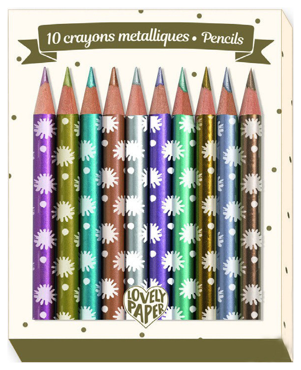 Купить Цветные карандаши металлик Djeco Чичи DD03730, 10 штук, Карандаши