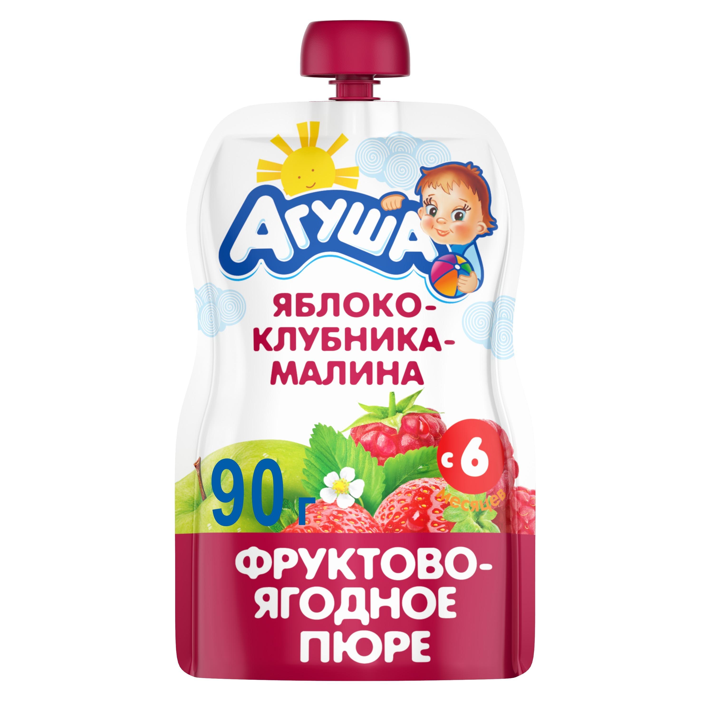 Пюре фруктовое Агуша Яблоко, клубника, малина с 6 мес 90 г