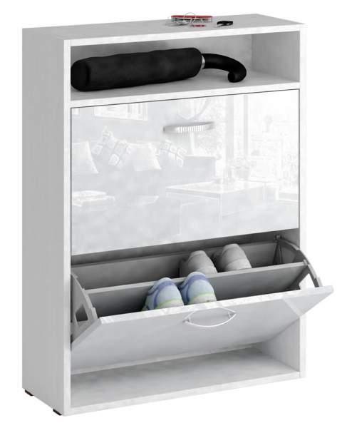 Обувница MFMaster Милан-25 МСТ-ОДМ-25 60х22,2х88,2 см, белый/белый глянец