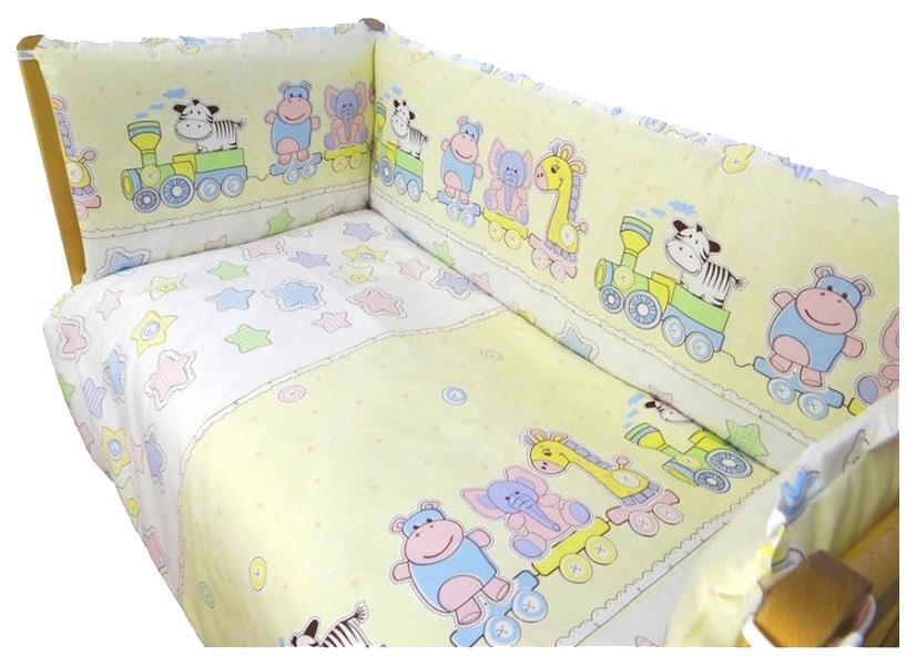 Купить ALIS Комплект в кроватку Паровозик Звездочка (цвет: желтый, 7 предметов) УТ0006349, Комплекты детского постельного белья