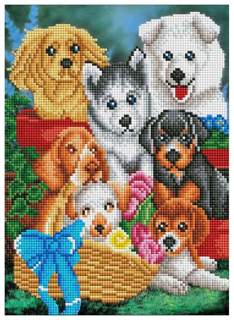 Купить РЫЖИЙ КОТ Алмазная мозаика Дружные щенки, 30х40 см ACH013, Рыжий кот, Мозаики