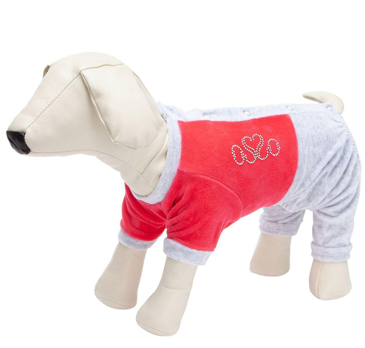 Костюм для собак OSSO Fashion, спортивный, велюр, женский, красный, 22