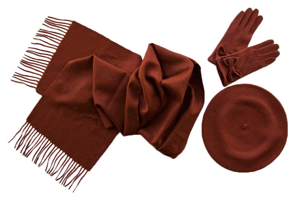 Комплект (берет, шарф, перчатки) Tonak/Tranini 122 коричневый фото