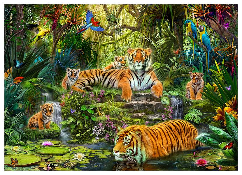Пазл Step Puzzle Plastic Puzzle Тигры 1000 элементов