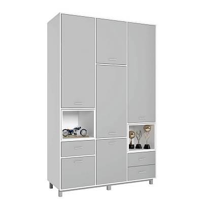 Купить Детский шкаф трехсекционный Polini kids Mirum 2330 белый/серый, Шкафы в детскую комнату