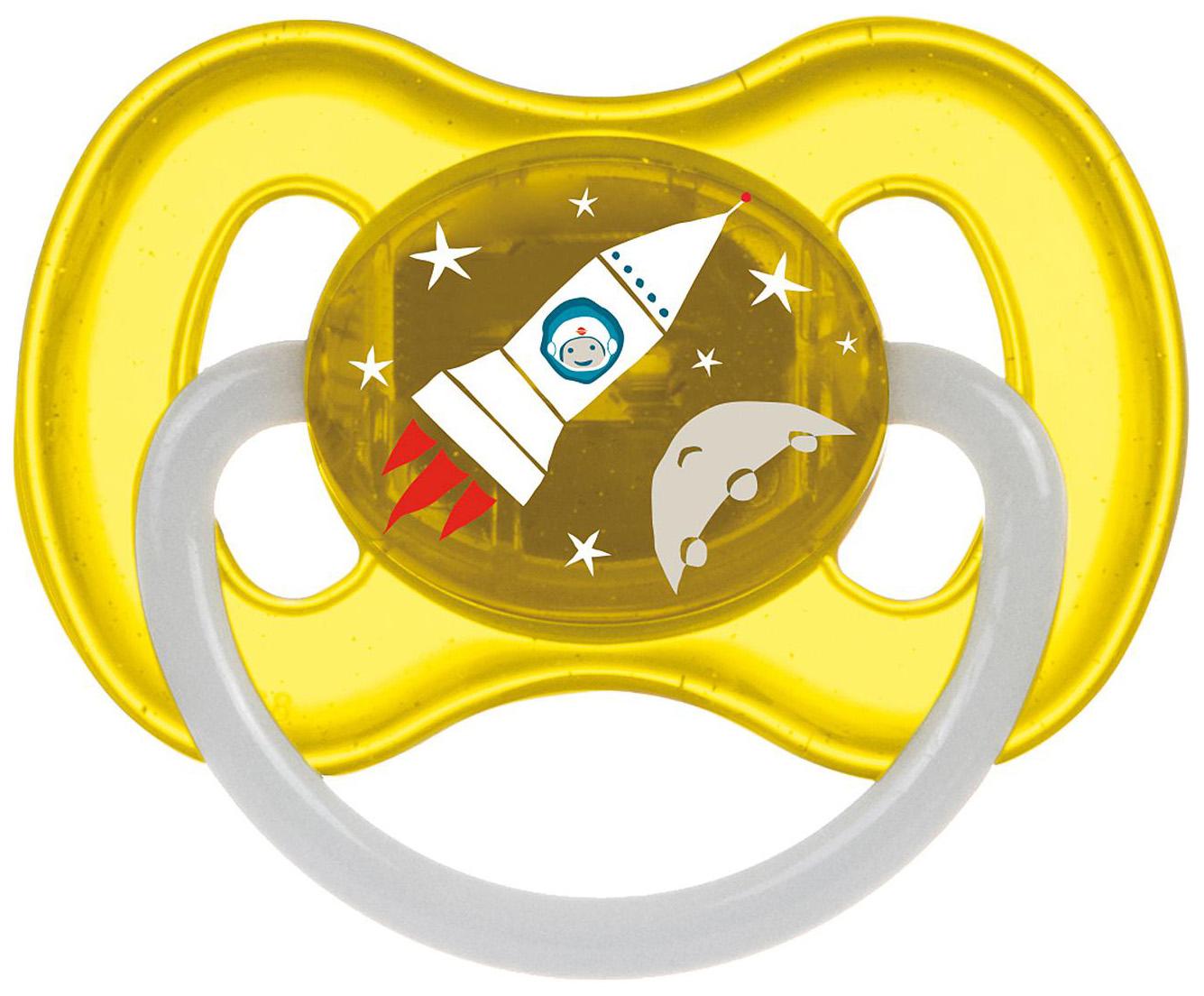 Купить Пустышка латексная Canpol Babies Space 6-18 мес 23/222/Желтый, Латексные пустышки
