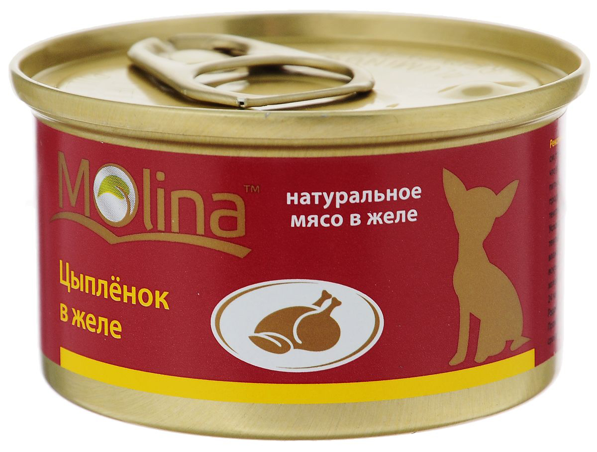 Консервы для собак Molina, цыпленок в желе, 85г