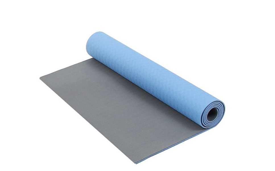 Коврик для фитнеса и йоги Larsen TPE синий/серый 4 мм 173 см