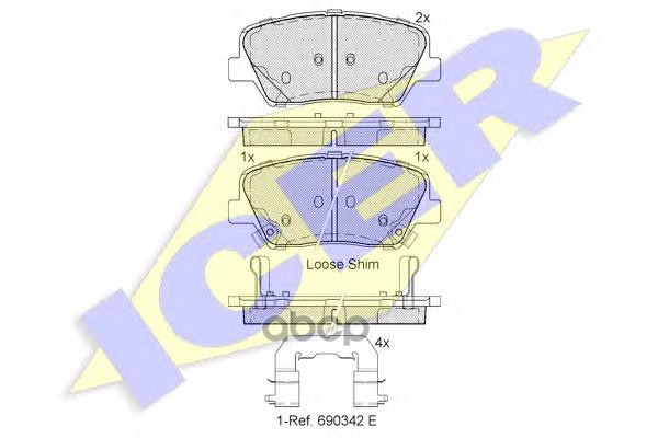 Комплект тормозных колодок ICER 182147