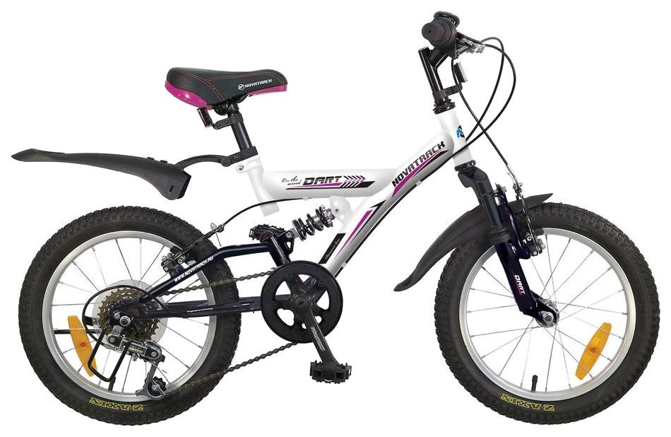 Купить Велосипед Novatrack Dart 16 (2016) Белый 16SS5V.DART.WT6, Детские двухколесные велосипеды