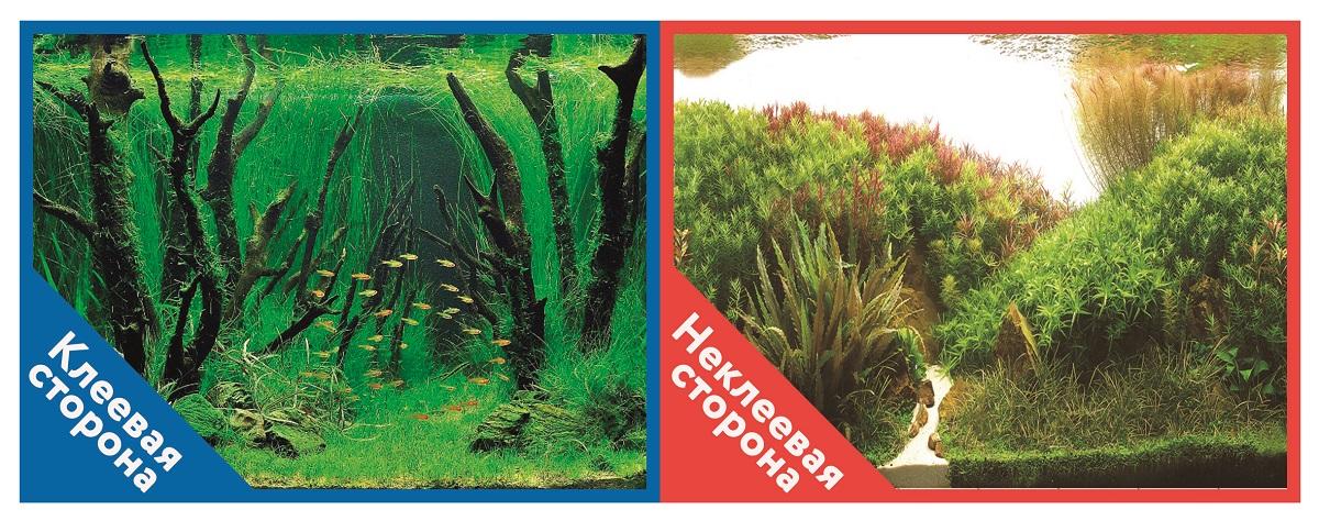 Фон для аквариума Prime самоклеющийся Коряги с растениями/Растительные