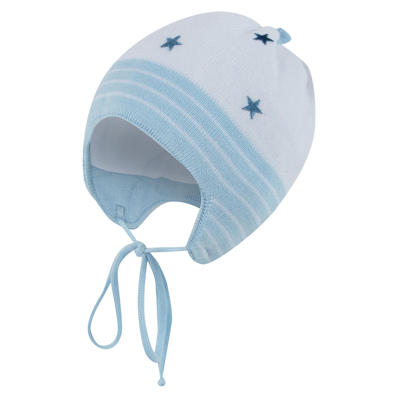 Шапка Nais Кипинс со звездами белый/голубой р. GL001029098