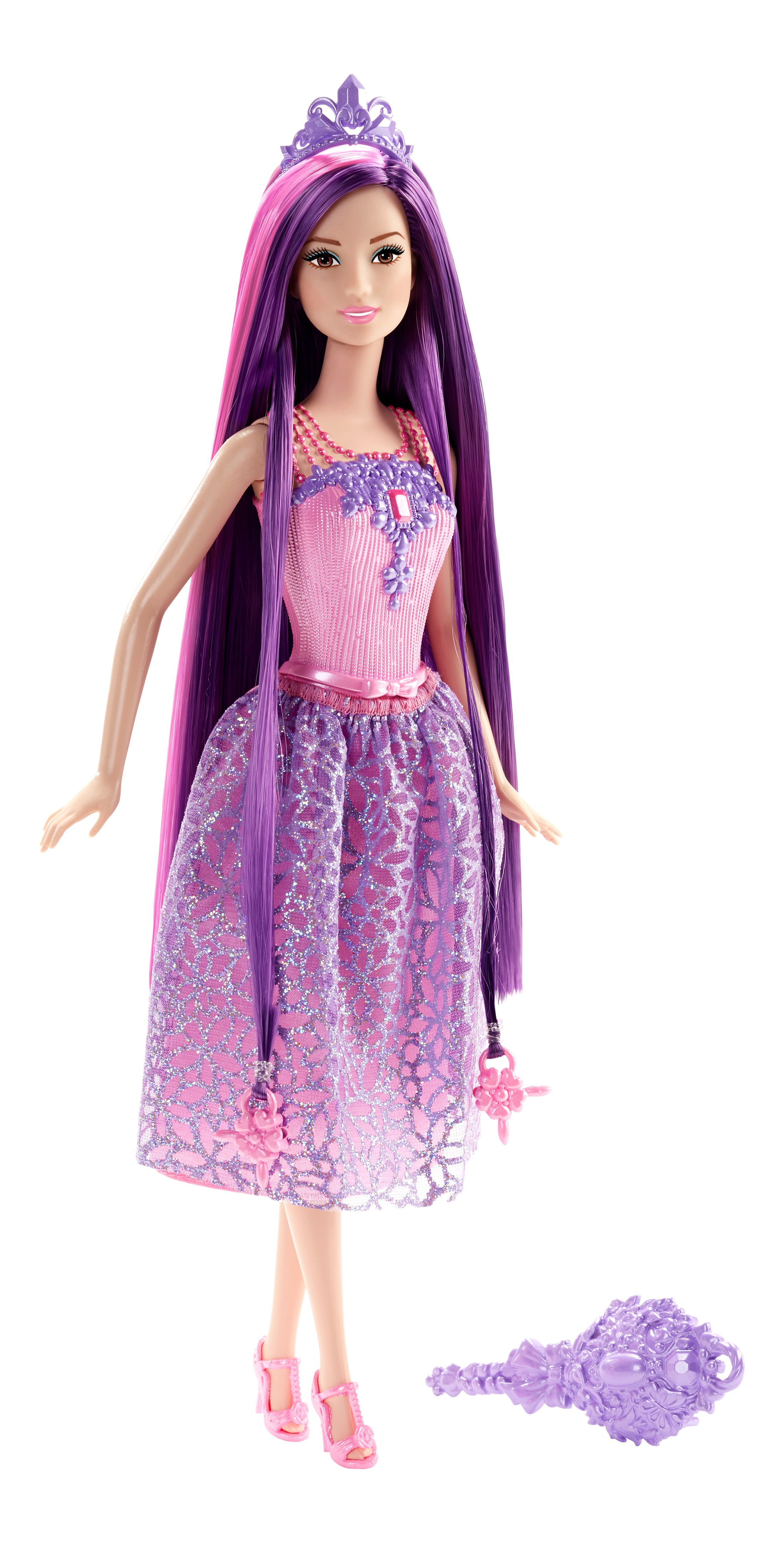 Купить Endless Hair Kingdom Princess Doll - Purple Hair, Кукла-принцесса Barbie с длинными волосами DKB56 DKB59, Куклы Barbie