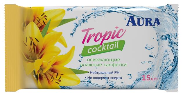 Влажные салфетки Aura Tropic Cocktail 15 шт