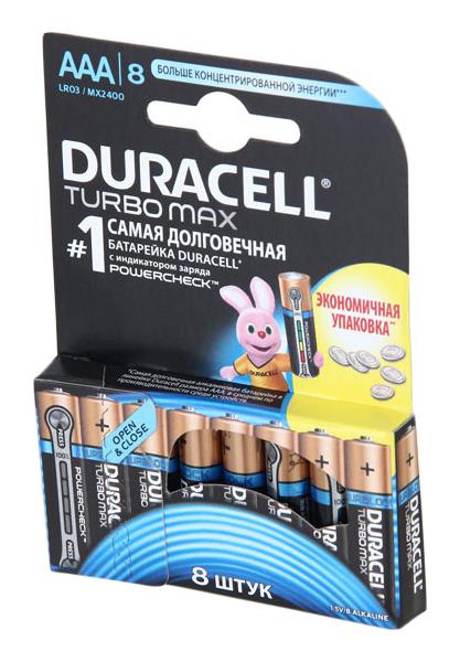 Батарейка Duracell TURBO MAX AAA LR03 8 шт фото