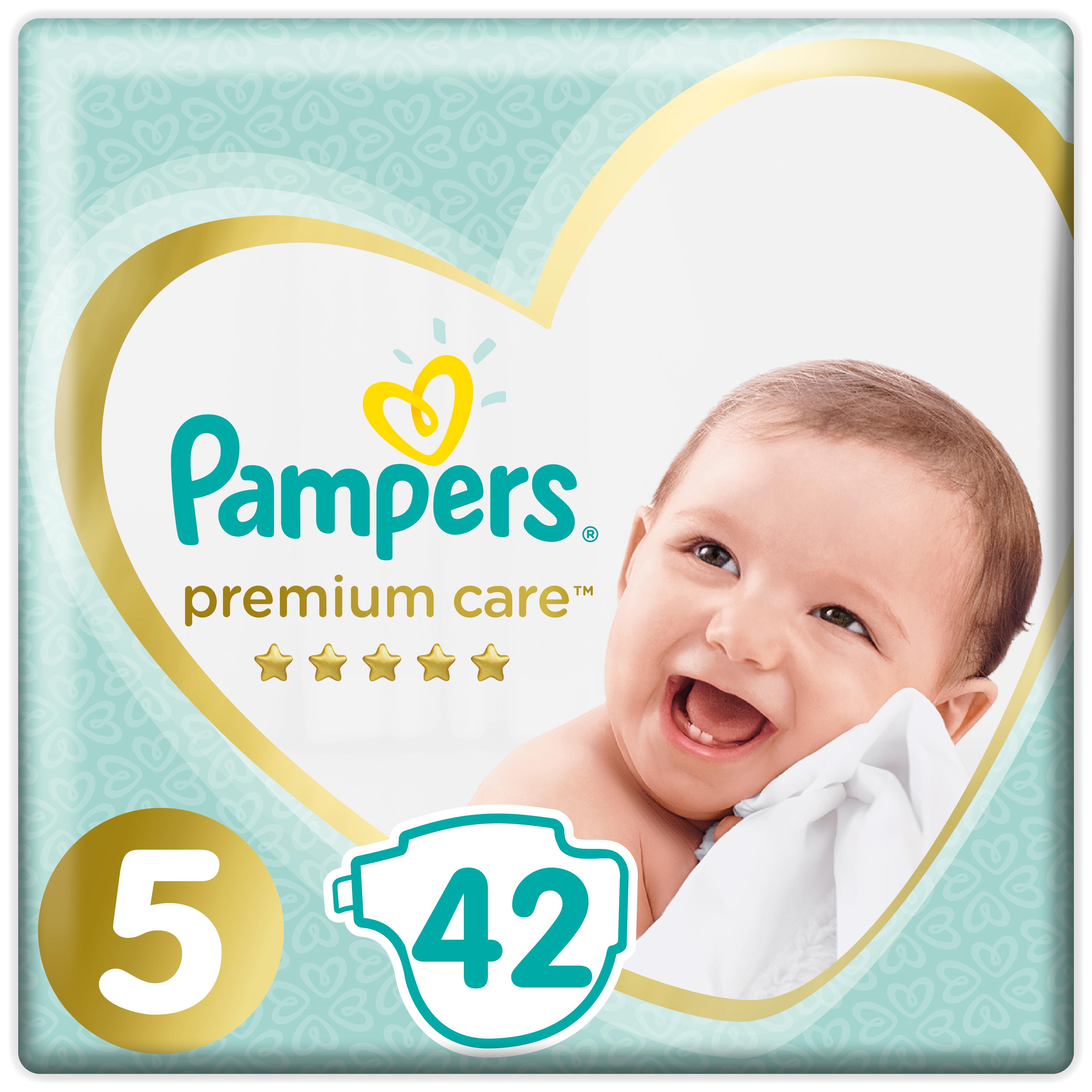 Купить Подгузники Pampers Premium Care Размер 5, 11-16кг, 42 штук, Подгузники Pampers Premium Care Junior (11+ кг) 42 шт.