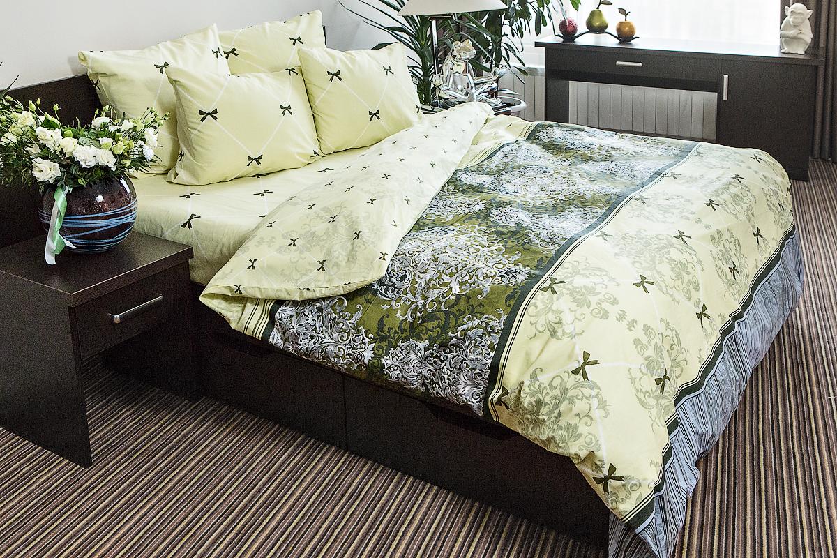 Комплект постельного белья Ночь нежна Desanzh Цвет: Зеленый (2 сп. евро)