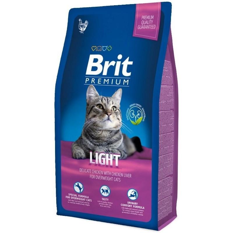 Сухой корм для кошек Brit Premium Light, при ожирении, курица и печень, 0,3кг