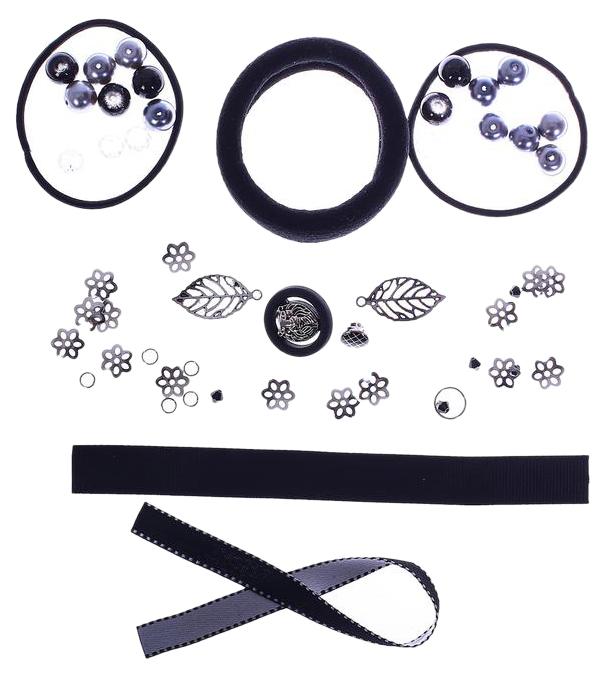 Резинки для волос «Черные грозди», набор для создания, 12 × 18 × 4 см Арт Узор