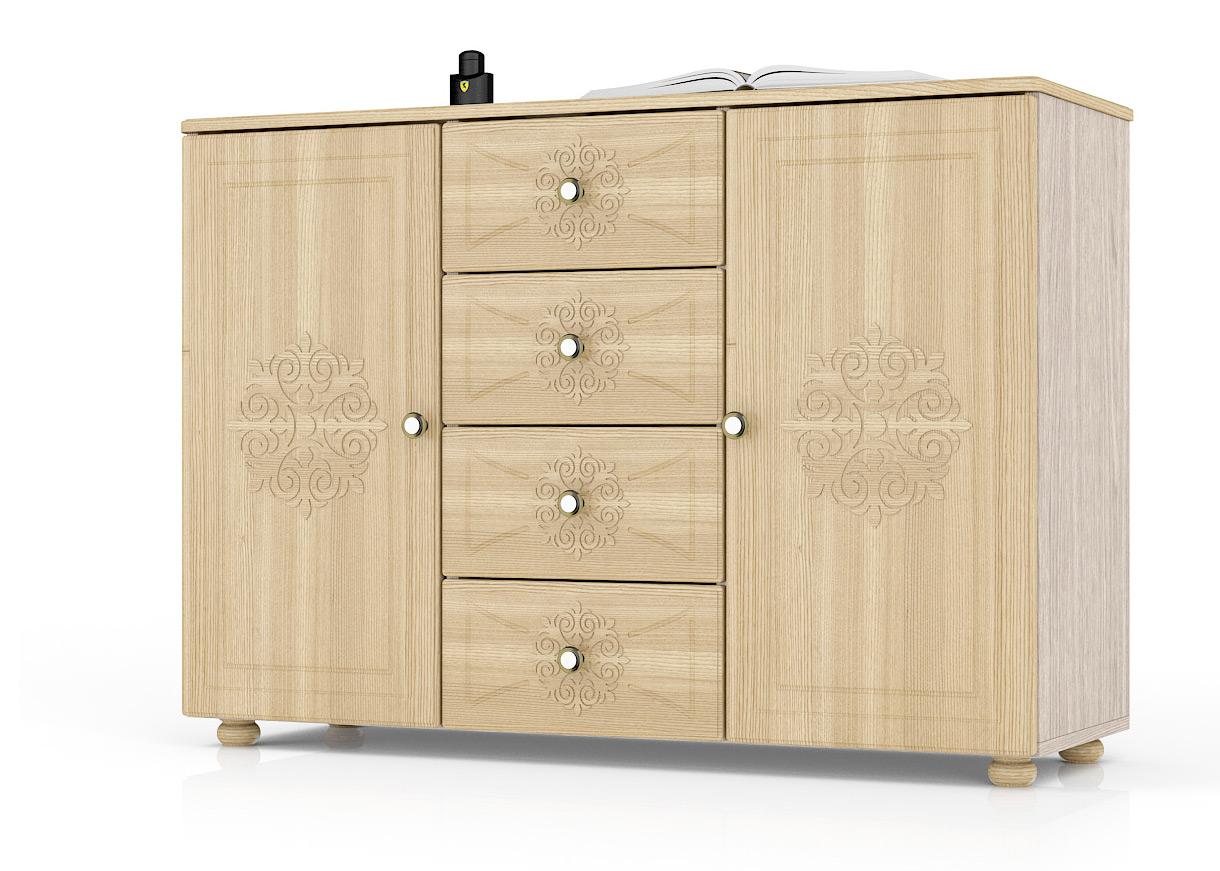 Комод Мебельный Двор Онега К-17 121х40х85 см, ясень шимо светлый