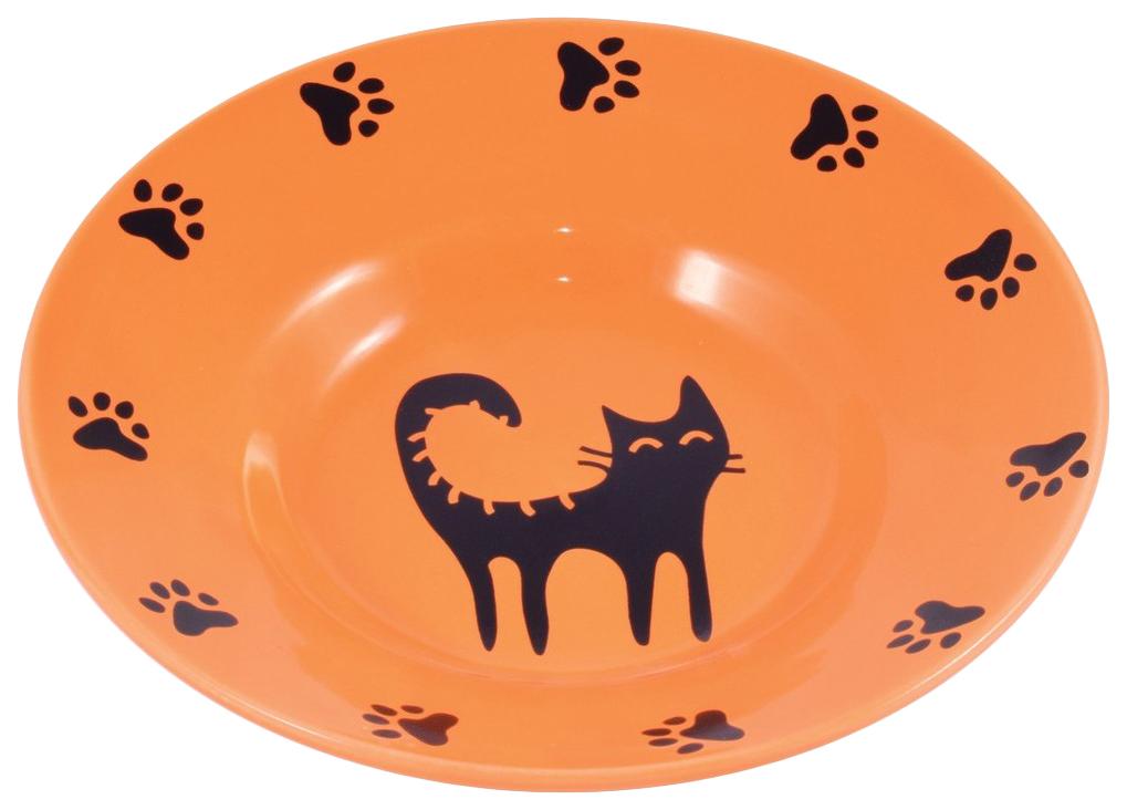 Одинарная миска для кошек КерамикАрт, керамика, оранжевый,