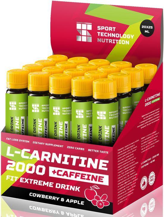 НПО Спортивные Технологии Л-Карнитин 2000 плюс кофеин, 1 ампула 25 мл, Cowberry & Apple фото