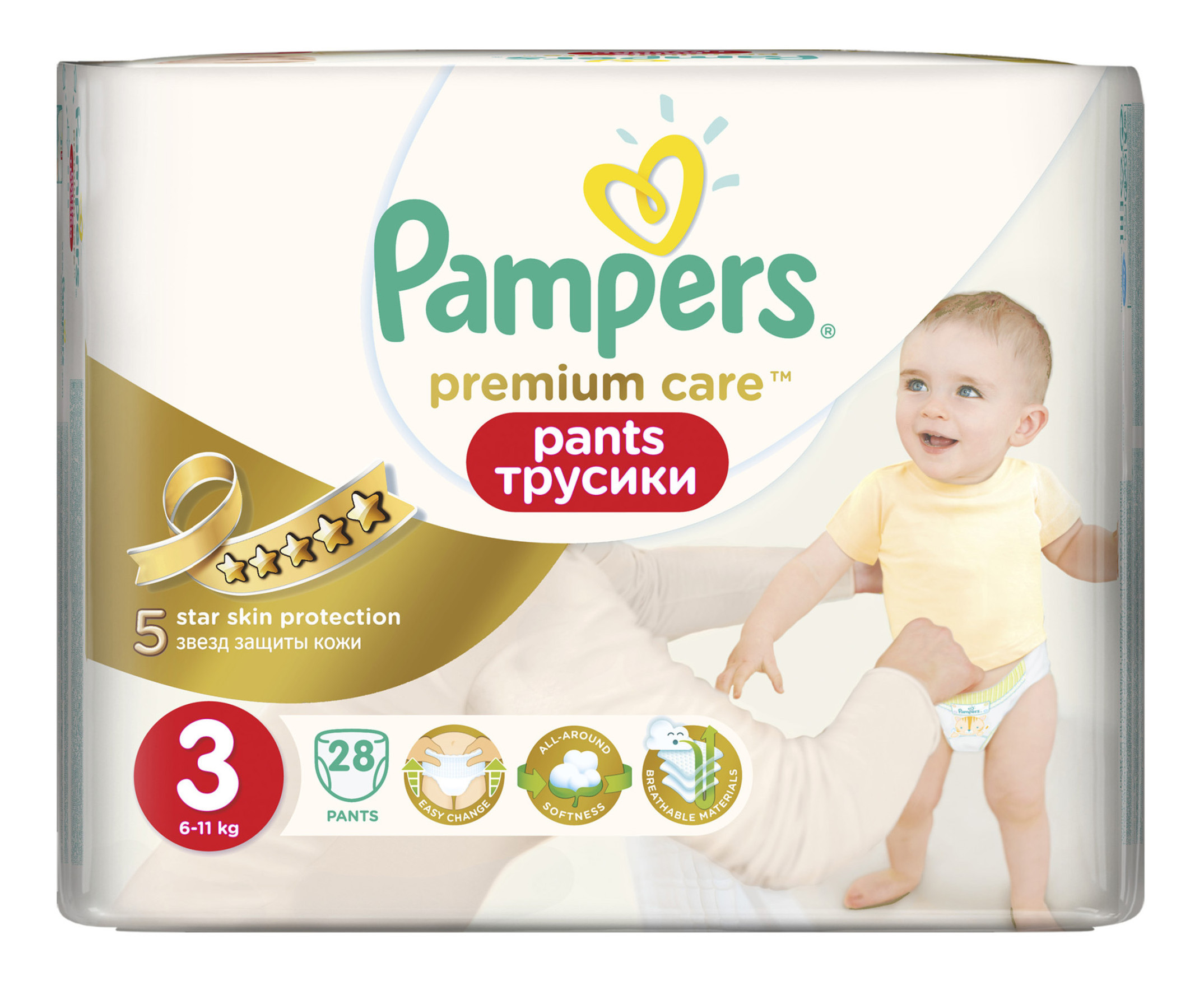 Подгузники-трусики Pampers Premium Care Pants 3 (6-11 кг), 28 шт.
