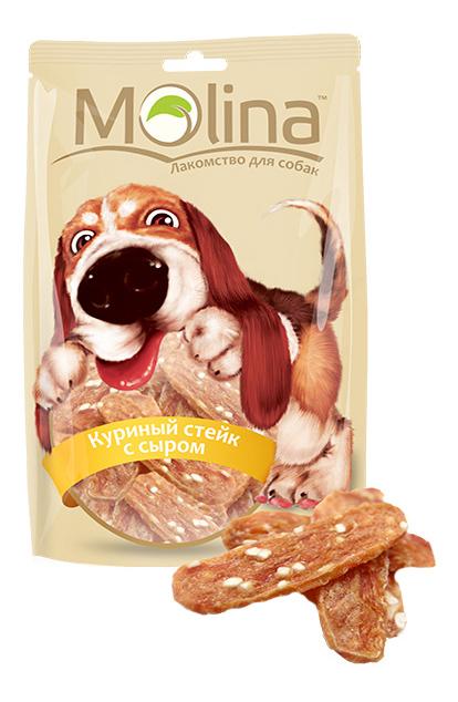 Лакомство для собак Molina Куриный стейк с сыром, 80г