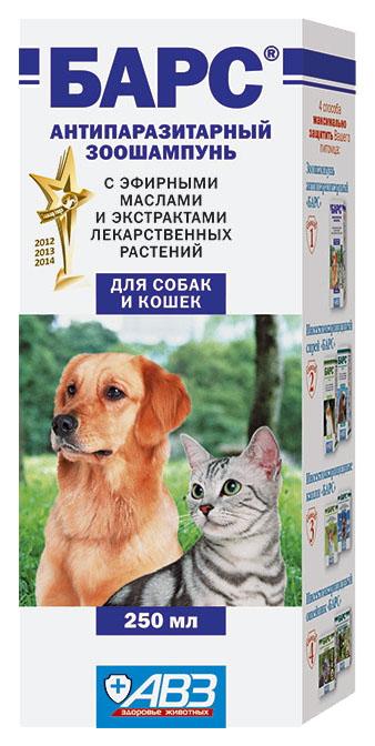 Шампунь для кошек и собак Барс Антипаразитарный, экстракты пеларгонии и гвоздики, 250 мл