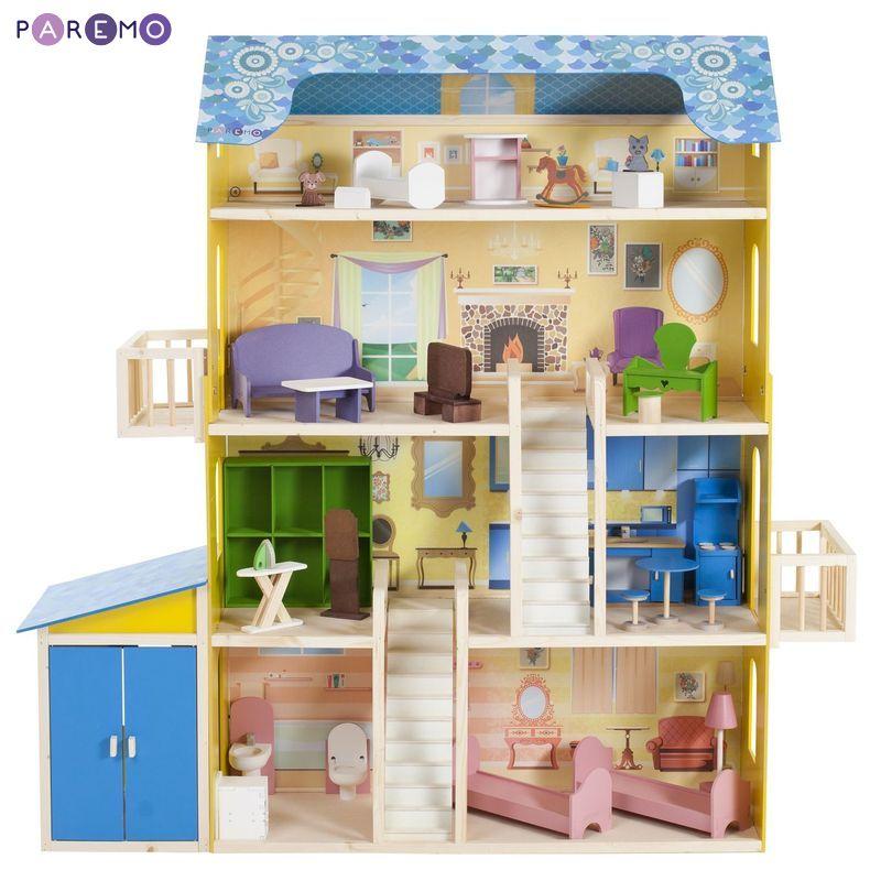 Дом кукольный Paremo Лира желтый PD316