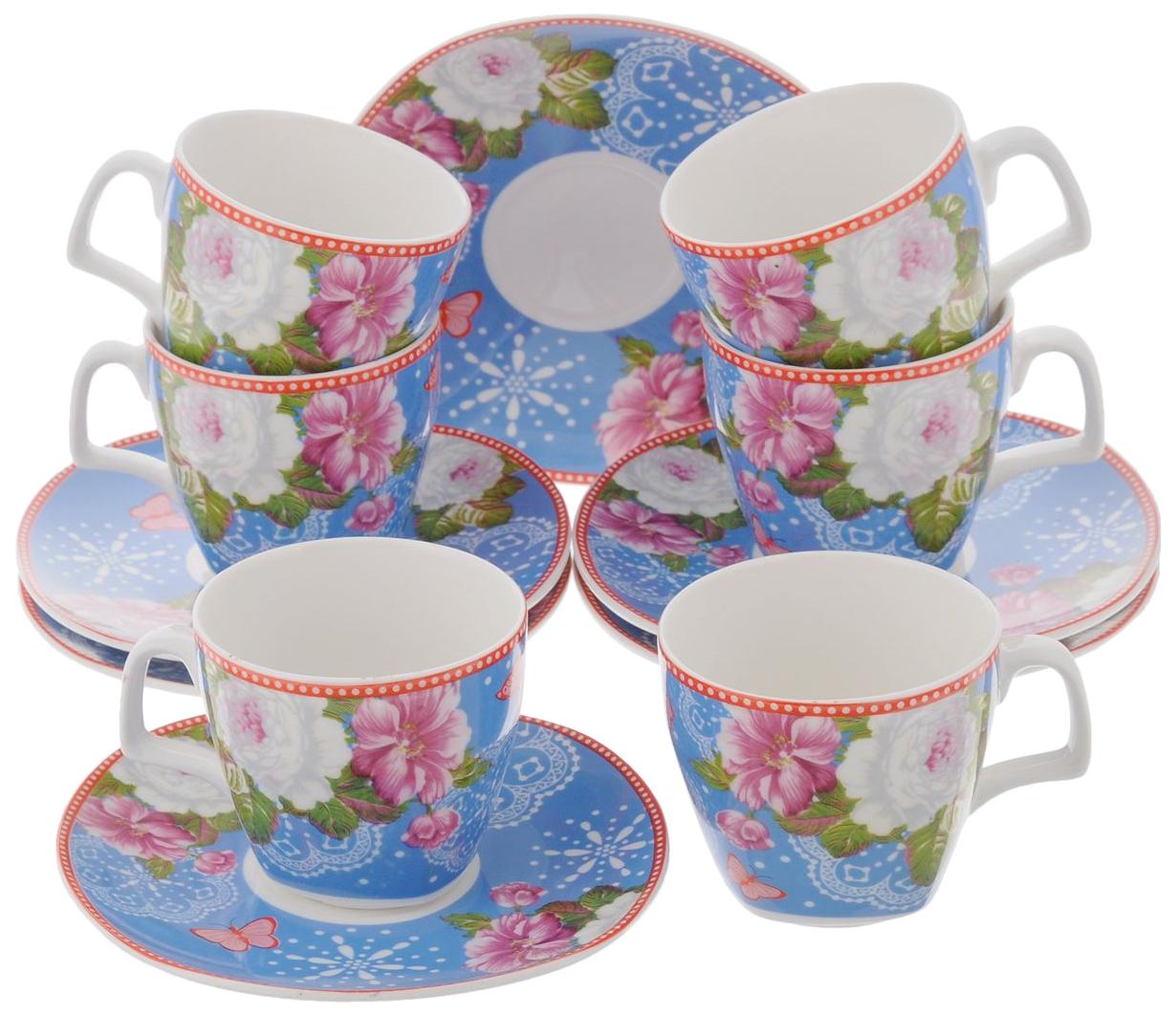 Кофейный набор Lorane 24757 Синий, белый, розовый,