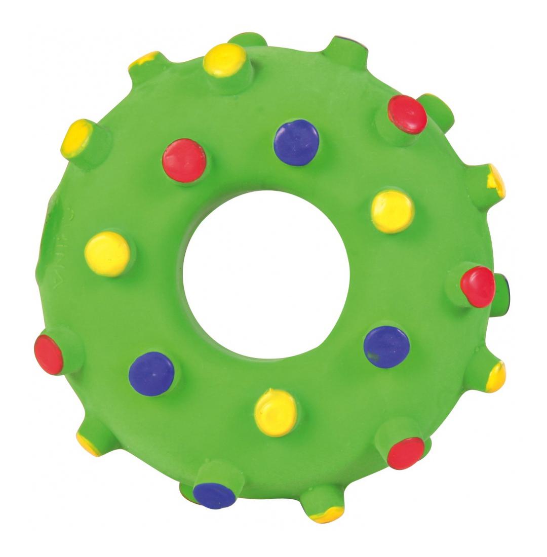 Жевательная игрушка для собак TRIXIE Кольцо игольчатое из латекса, зеленый, 8 см