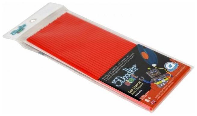 Купить Эко-пластик к 3Д ручке 3Doodler Start, цвет красный 24 шт, Wobble Works, 3D ручки