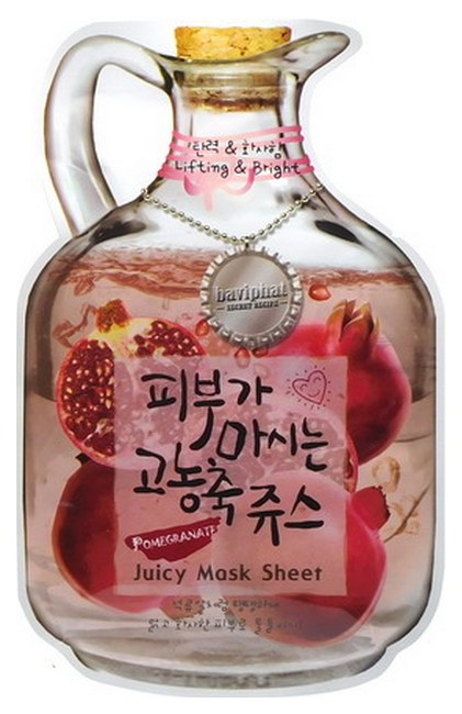 Купить Маска для лица Baviphat Lifting & Bright фруктовая тканевая с экстрактом граната, 23 г, Pomegranate Juicy Mask Sheet (Lifting & Bright)