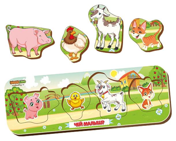 Игрушка Сибирский сувенир Кто что ест? 11904 свинья-петух-козел-кот, Пазлы для малышей  - купить со скидкой