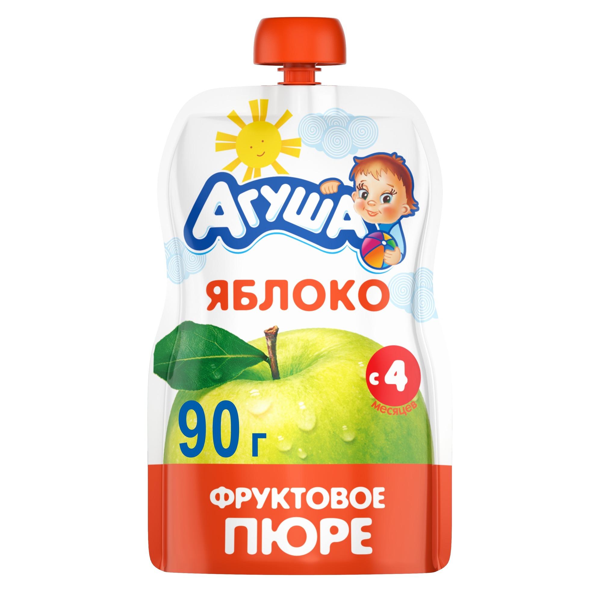 Купить Яблоко 90 г, Пюре фруктовое Агуша Яблоко с 4 мес 90 г, Детское пюре