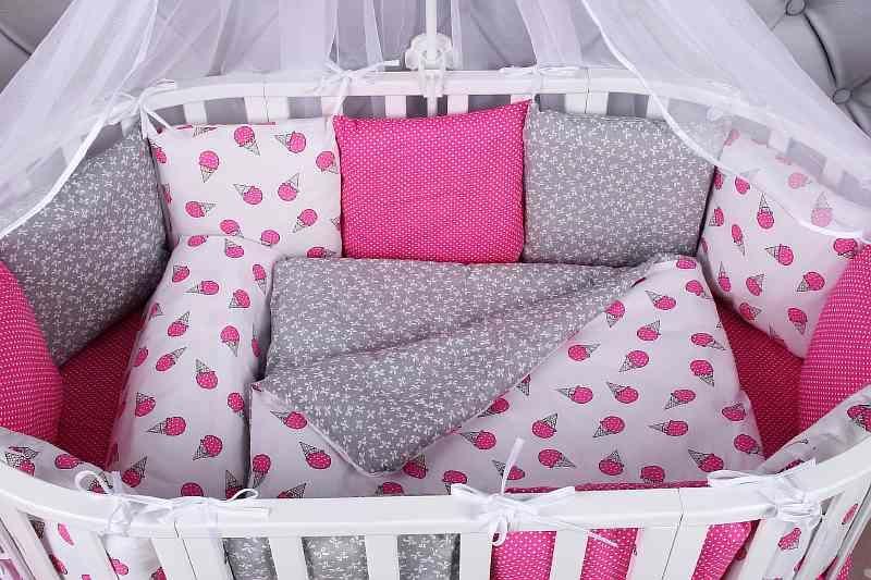 Купить Комплект Premium в кроватку 19 предметов AmaroBaby SWEET (малиновый/белый, бязь), Комплекты детского постельного белья